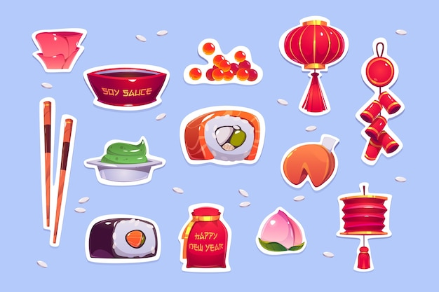 Еда и украшения на китайский новый год. наклейки с красным фонарем, колокольчиками, суши и печеньем с предсказанием. мультфильм иконки традиционных азиатских украшений, японский ролл с рыбой, икрой и васаби