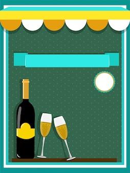 Концепция еды и напитков с шампанским и очками на зеленом фоне.
