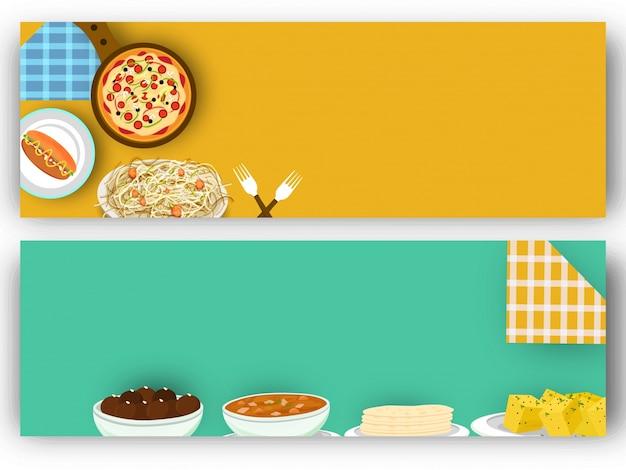 웹 사이트 배너와 음식 및 음료 개념입니다.