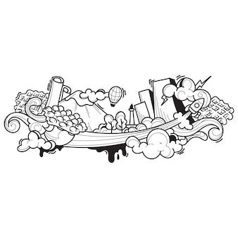 食べ物や飲み物の落書きアート