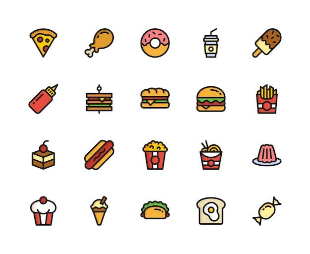 음식과 음료 아이콘 설정 개념
