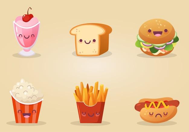 食べ物や飲み物のかわいい要素