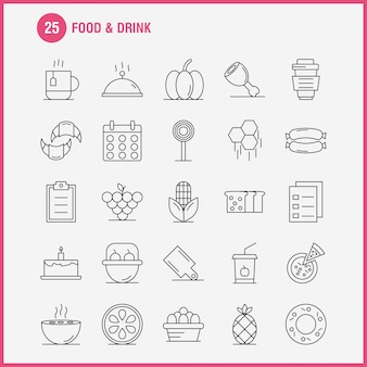 Значок линии продуктов питания и напитков
