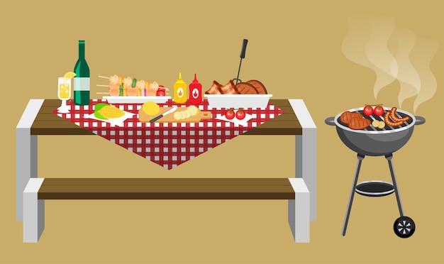 バーベキューパーティーのコンセプトに基づいて木製のテーブルで食べ物や飲み物