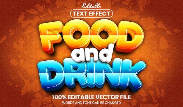 Текст еды и напитков, редактируемый текстовый эффект стиля шрифта