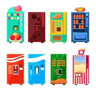 食べ物や飲み物の自動販売機のデザインセット