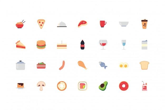 Набор иконок продуктов питания и напитков