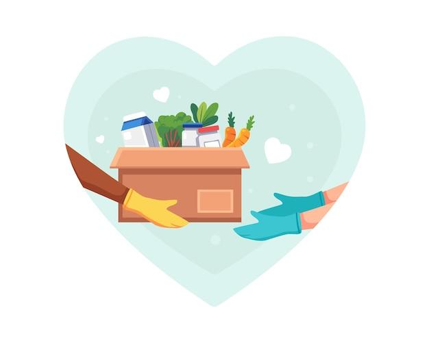 Иллюстрация пожертвования продуктов питания и продуктов. волонтер держит коробку для пожертвований с едой в защитных перчатках, дает коробку для пожертвований, солидарность и благотворительную концепцию. векторная иллюстрация в плоском стиле