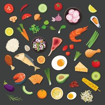 음식과 재료 배경 평면 디자인