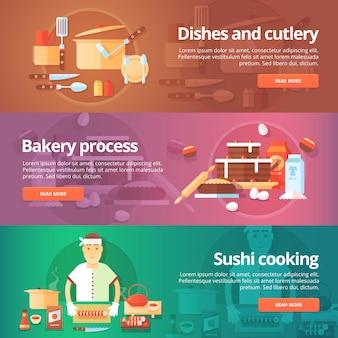 食品とキッチンのセット。料理やカトラリー、ベーカリープロセス、寿司料理をテーマにしたイラスト。概念。