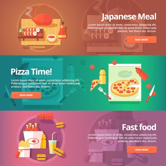 食品とキッチンのセット。日本の寿司、ピザタイム、ファーストフードをテーマにしたイラスト。概念。