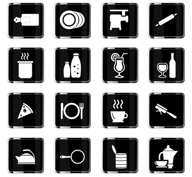 Еда и кухня векторные иконки для дизайна пользовательского интерфейса
