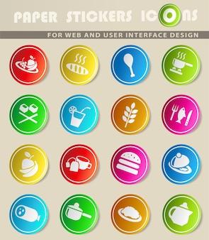 ユーザーインターフェイスデザインのための食品とキッチンのwebアイコン