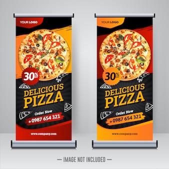 Еда и ресторан пицца свернуть баннер шаблон