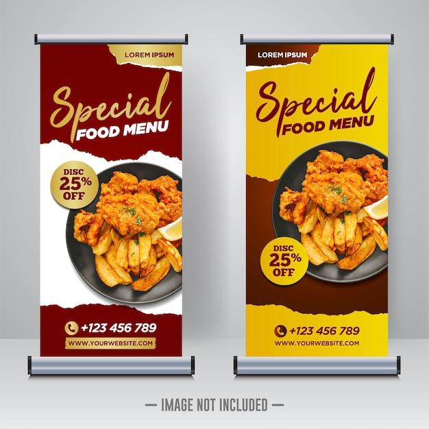 음식과 레스토랑 롤 배너 디자인 서식 파일