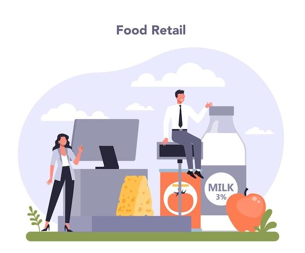 경제 식료품 상품의 식품 및 주식 소매 산업 부문