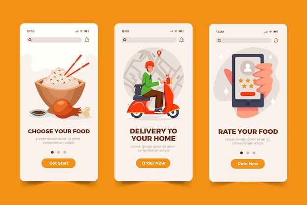 Food app screens