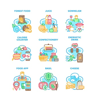 Food application set icons vector illustrations. forest food and juice, energetic drink and calorie counter app, confectionery and cheese. sommelier occupation for taste wine color illustrations