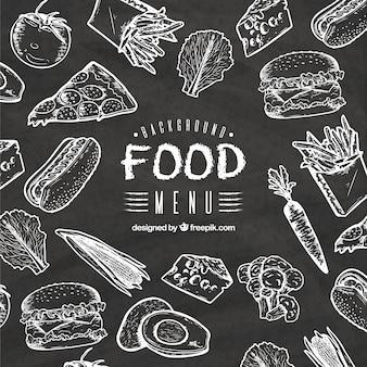 Food background in blackboard style