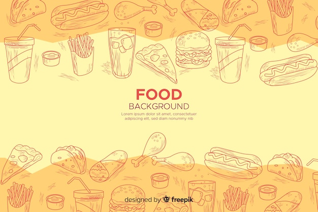 Food background in sketchy style