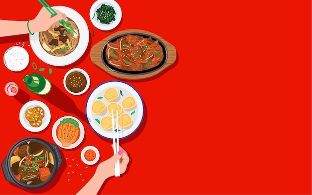 食べ物の背景、一緒に韓国料理を楽しむ人々の上面図