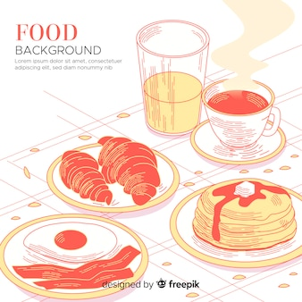 Food background with breakfast goodies