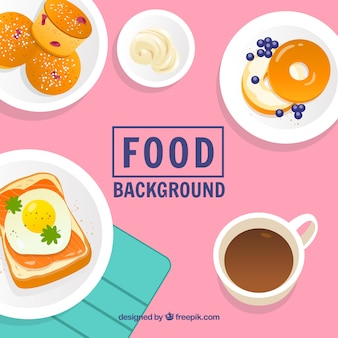 Food background with breakfast
