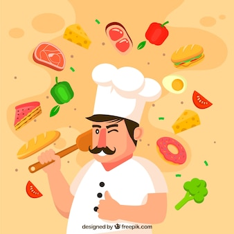 Food background with chef