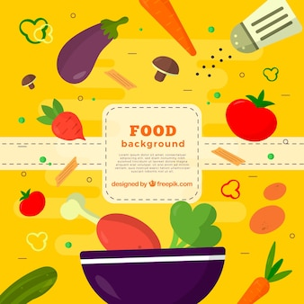 Food background with chicken and vegetables