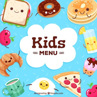 Food background with cute cartoons