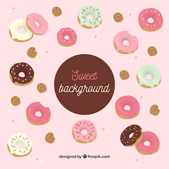Food background with delicious donuts
