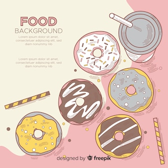 Food background with delicious doughnuts