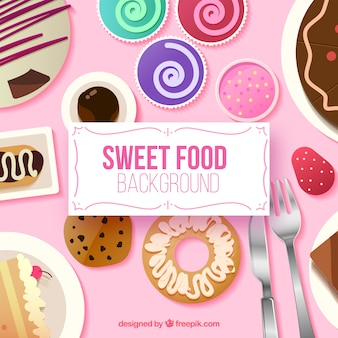 Food background with desserts
