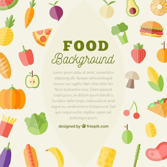 Food background with flat vegetables