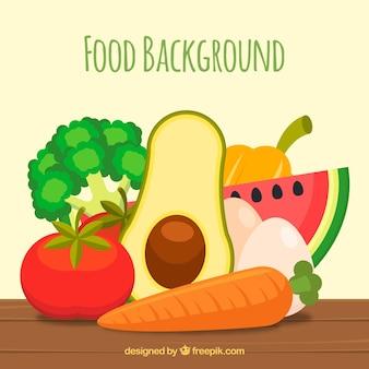 Пища фон с фруктами и овощами