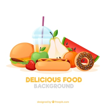 Food background with fruits and fast food