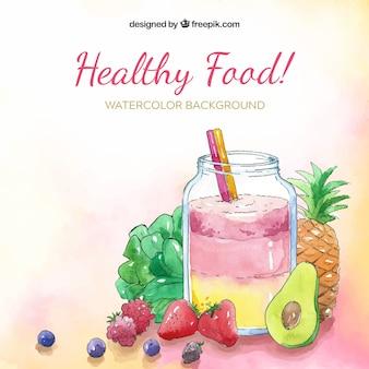 Sfondo di cibo con frutta e succo