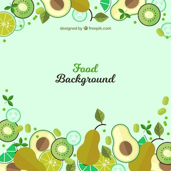 Food background with green flat fruits