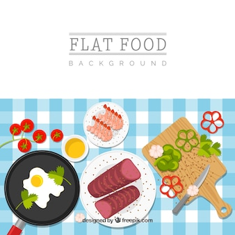 Food background with meat and seafood