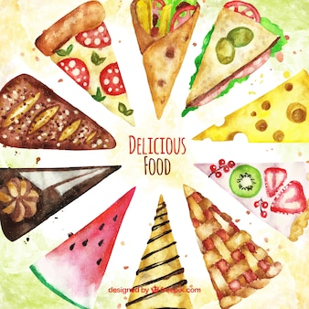 Food background with slices
