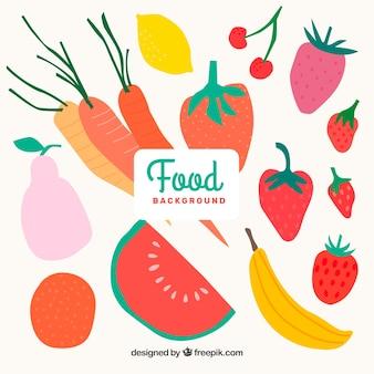 Sfondo di cibo con verdure e frutta