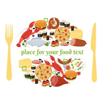 텍스트의 양쪽에 칼과 포크가있는 접시에있는 것처럼 원으로 배열 된 음식 아이콘이있는 장소 설정의 음식 배지 개념
