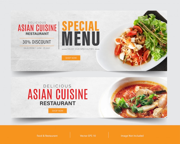 Food banner template set for advertising