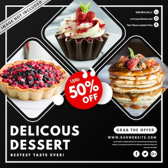 Food banner template with photo