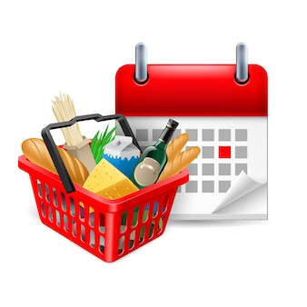 Food basket and calendar