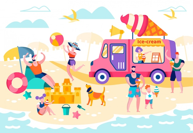 Food on beach or open pond vector illustration.