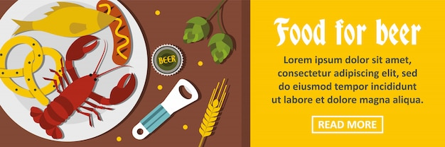 Food for beer banner horizontal concept