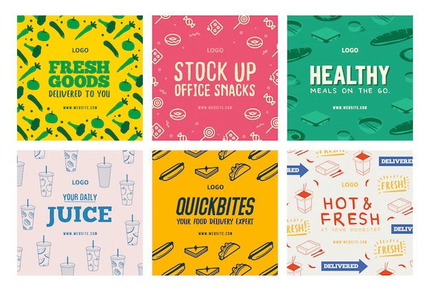 Food beverages delivery social media post templates set