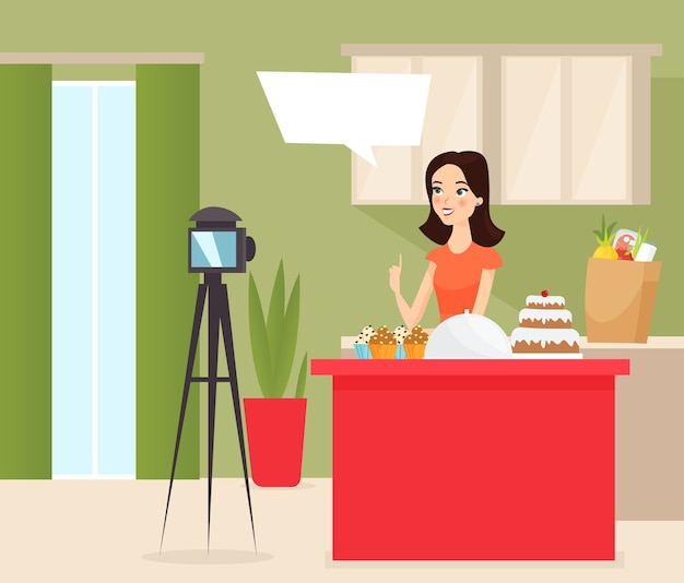 Food blogger   illustration young female vlogger shooting cake cartoon characte