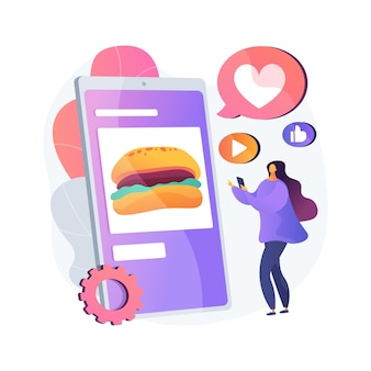 Food blogging abstract concept   illustration. food hunter review, appetizing photos, social media, attract followers, blog post, online cooking, streaming, street food